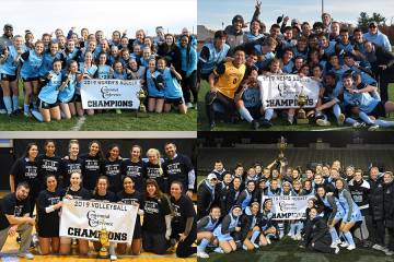Team photos for Johns Hopkins field hockey, volleyball, and mens and women's soccer