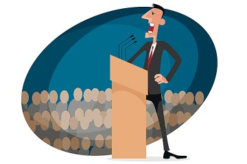 Whimsical illustration of a businessman speaking at a podium