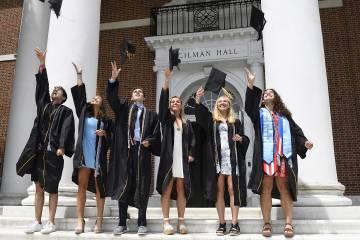 A group of graduates throw their caps