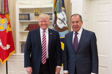 President Trump smiles and poses with Sergey Lavrov in Oval Office meeting May 10, 2017