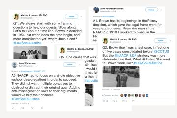 Collection of tweets overlayed