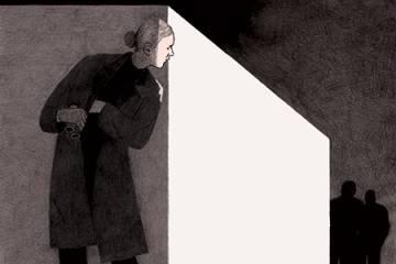 A woman spy peers around the corner