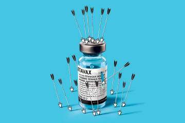 Illustration of a vaccine bottle attacked by mouse cursors