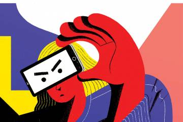 illustration of a woman looking through the lens of her cellphone