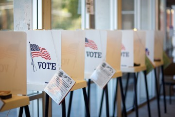 Line of voting booths at City Hall in Hermosa Beach, California