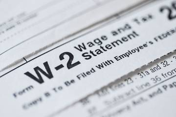Partial view of a W-2 form