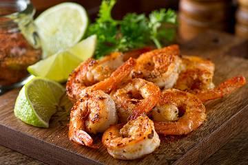 Closeup pf delicious-looking shrimp dish