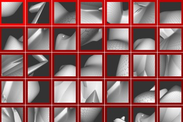 A collage of images from the study depicting abstract shapes on a dark background