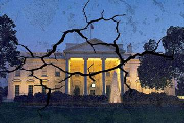 White House illustration with cracks