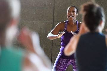 Instructor leading Zumba class