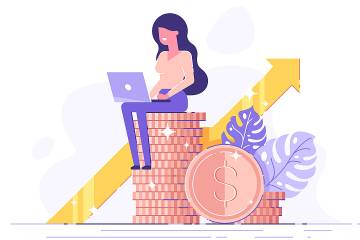 Illustration of woman with a computer sitting on a stack of coins with an arrow pointing upward