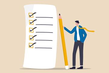 Illustration of a man with a checklist