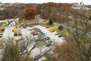 Elevated view of campus parking lot