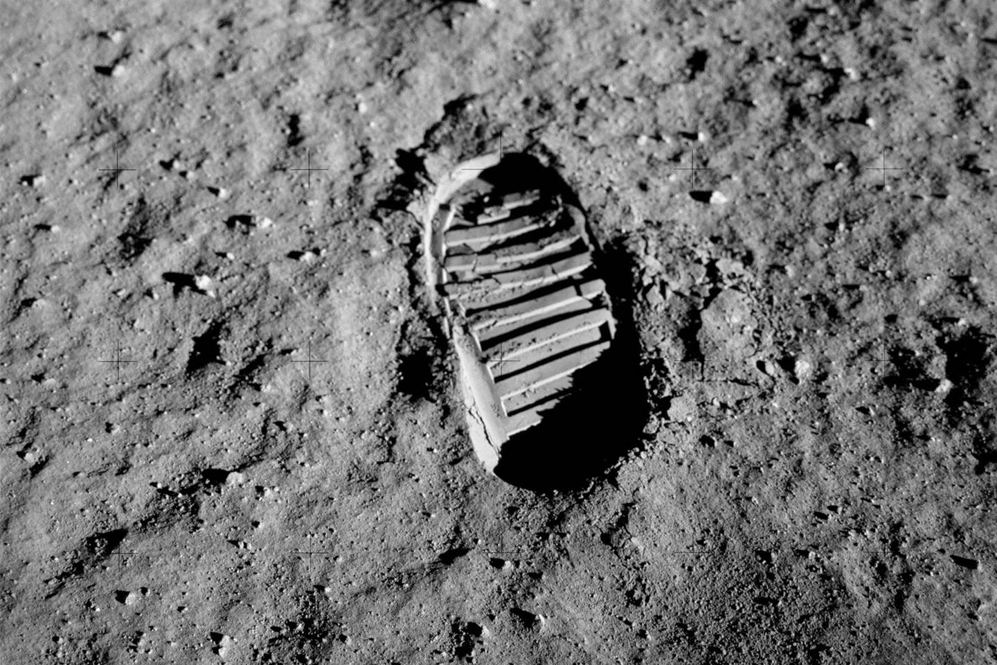 Photo of Buzz Aldrin's boot print on the moon