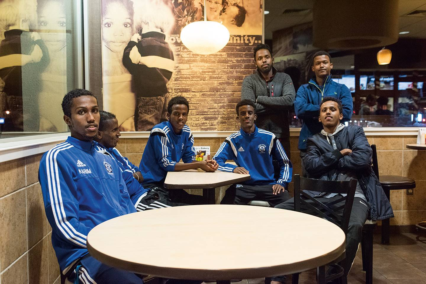 Soccer team in a fast food restaurant