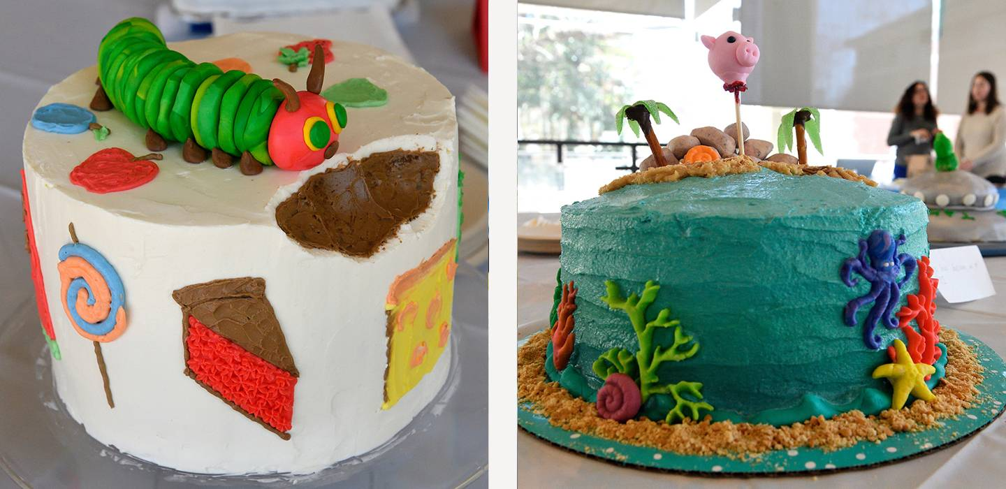 The Very Hungry Caterpillar and Lord of the Flies cakes