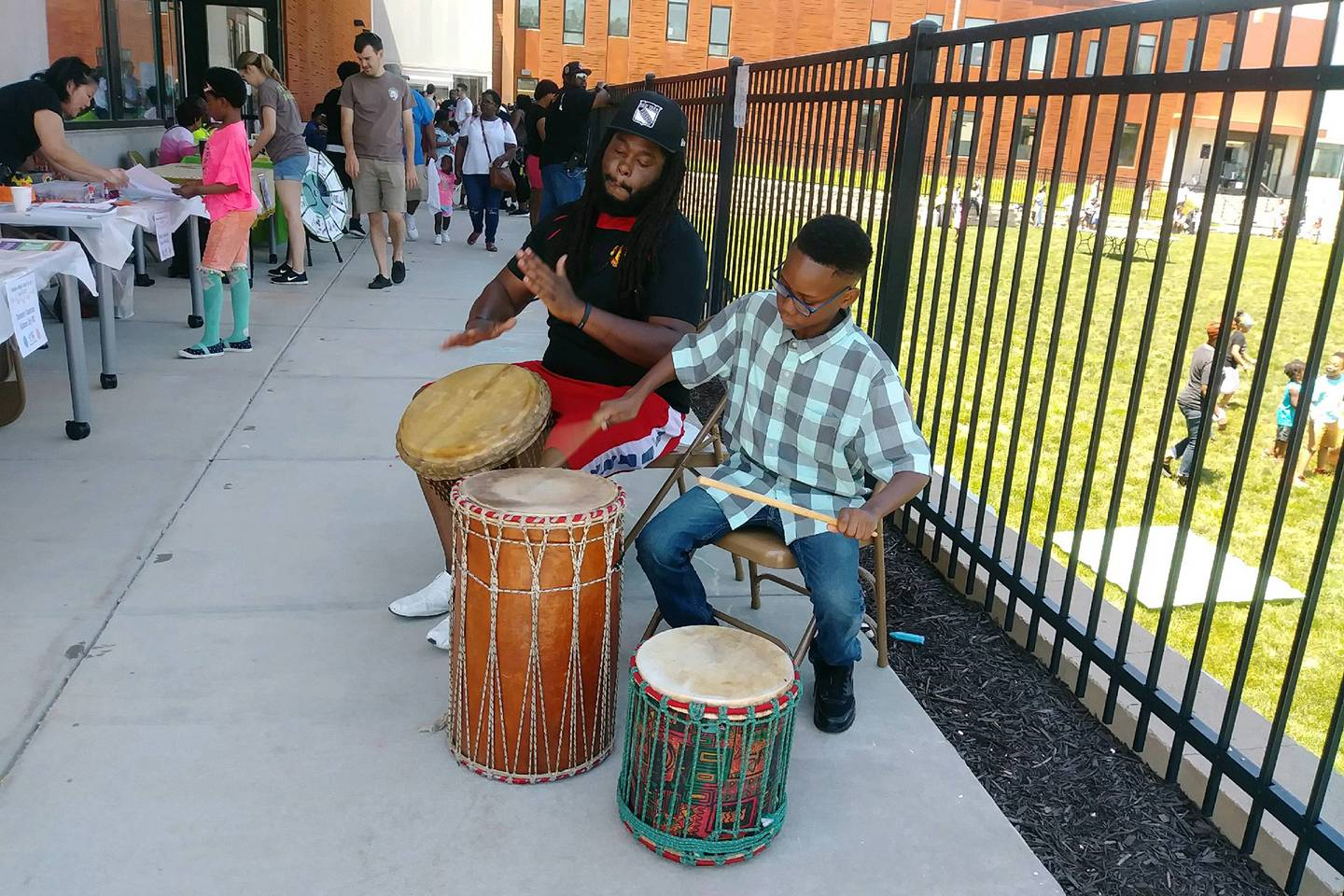 A student drums