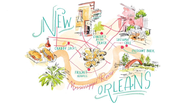 Illustration of New Orleans landmarks