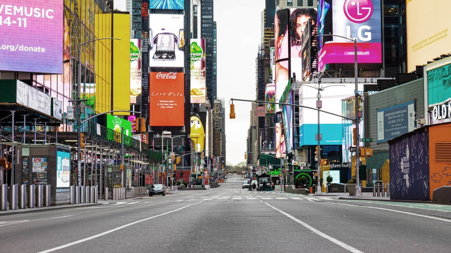 A New York City street is nearly empty