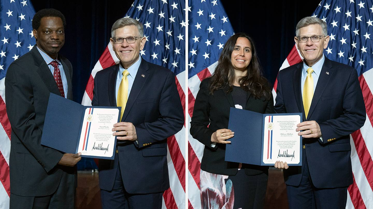 Darrell Gaskin (left) and Rebecca Schulman each photographed with Kelvin Droegemeier