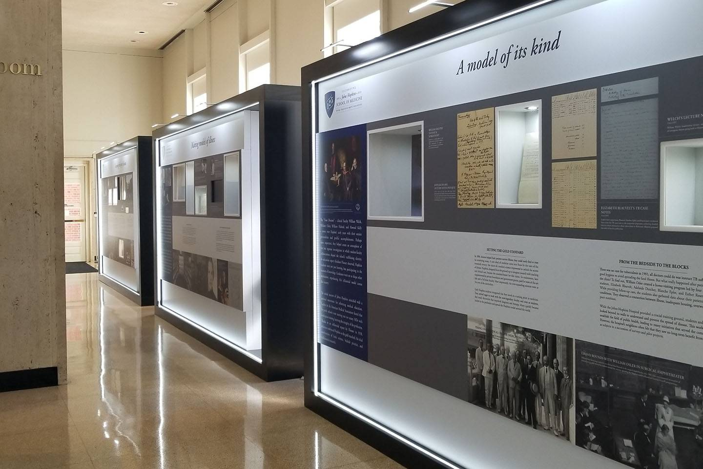 The exhibit display in the MSE Library