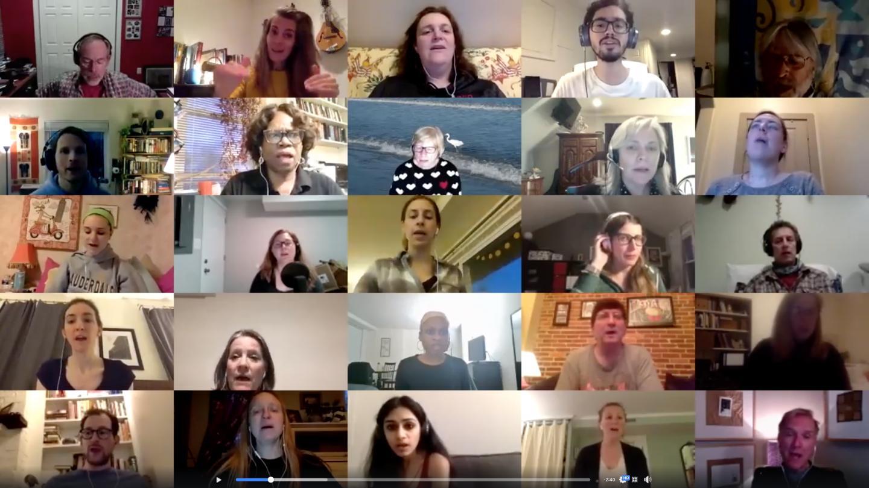 Peabody Community Chorus rehearses on Zoom conference call