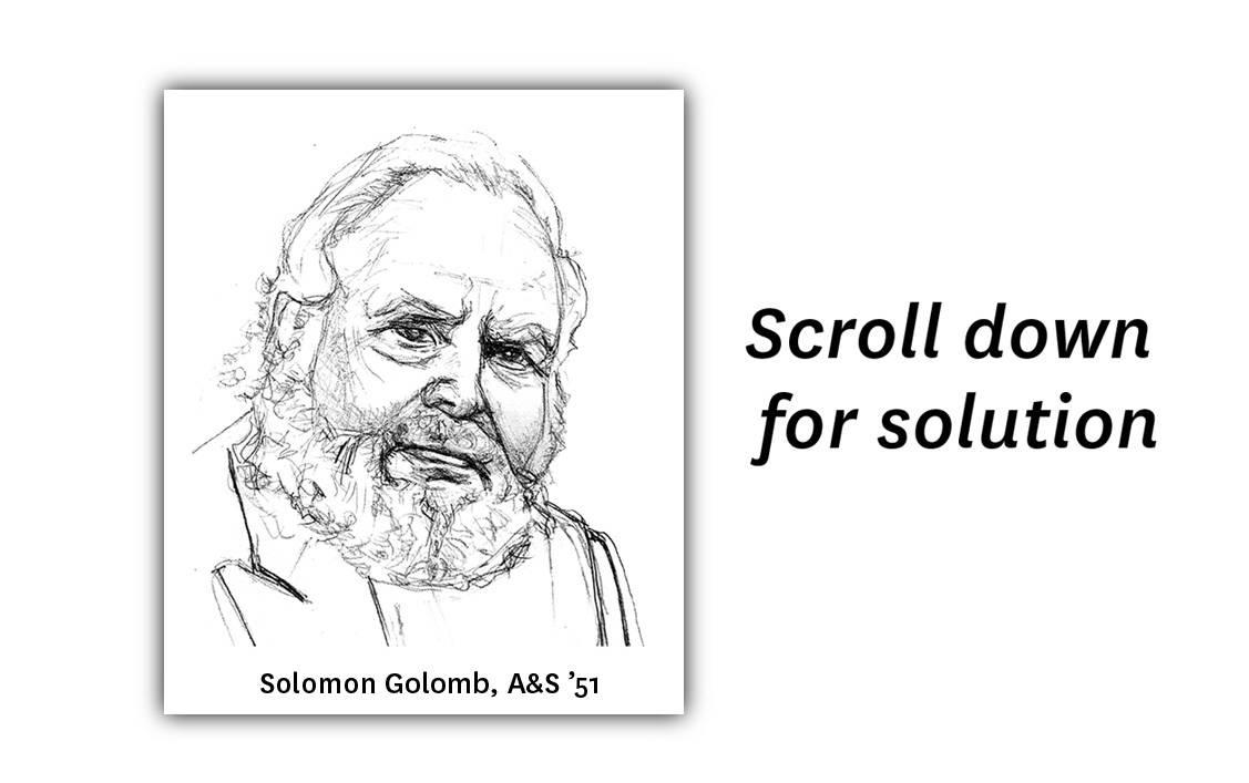Illustration of Solomon Golomb reads 'Scroll down for solution'