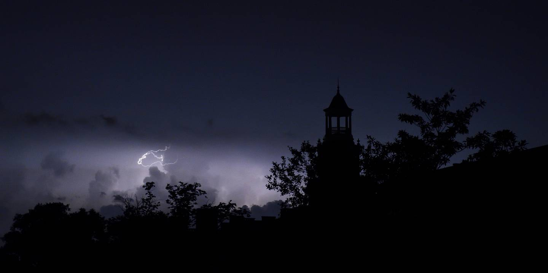 Lightning strikes over Homewood campus