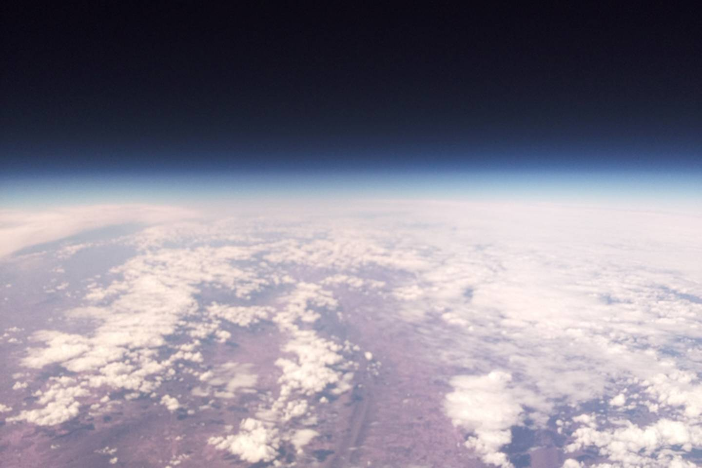 Photo taken of the Earth from the atmosphere at the balloon's peak height