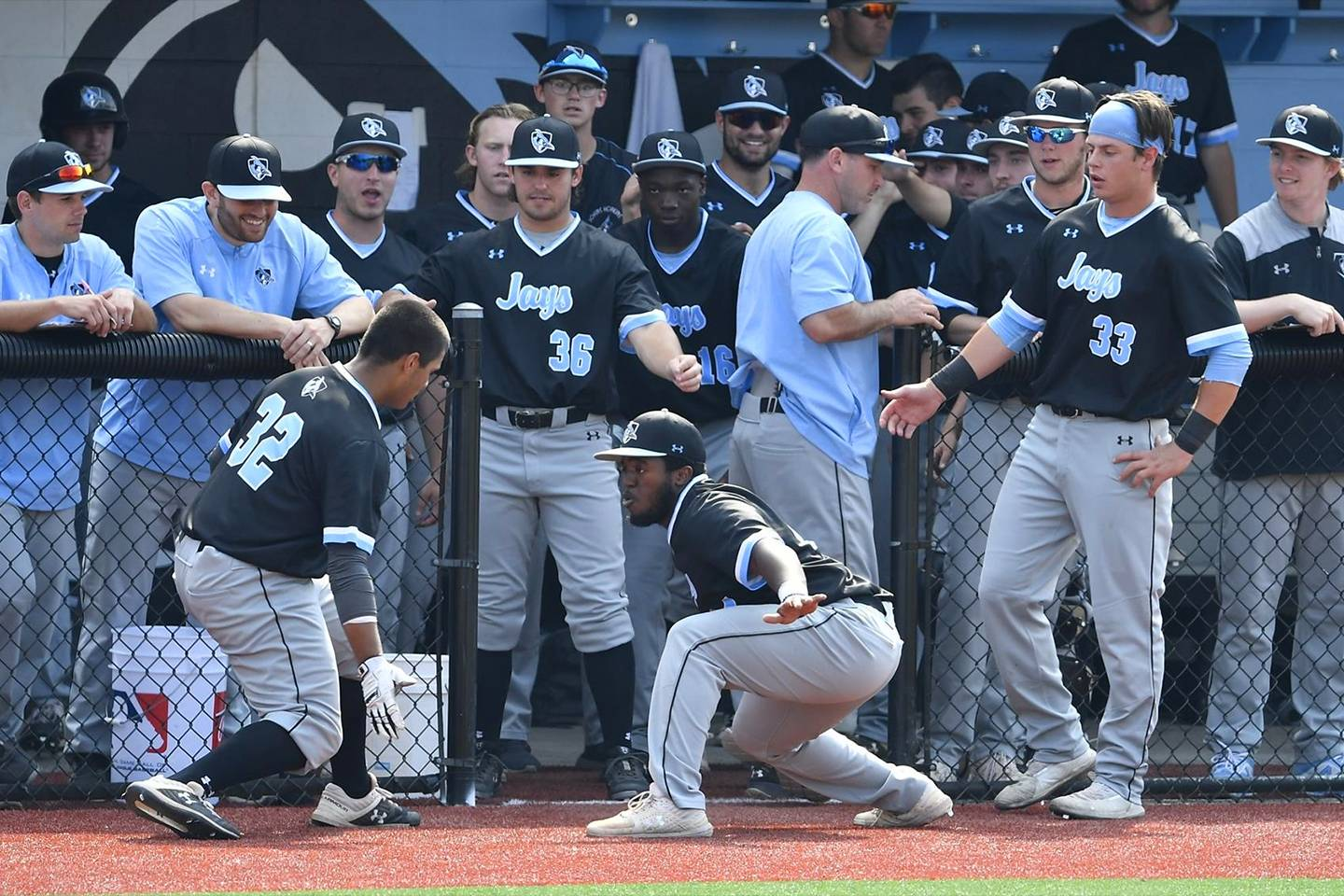 Hopkins baseball players celebrate in the dugout