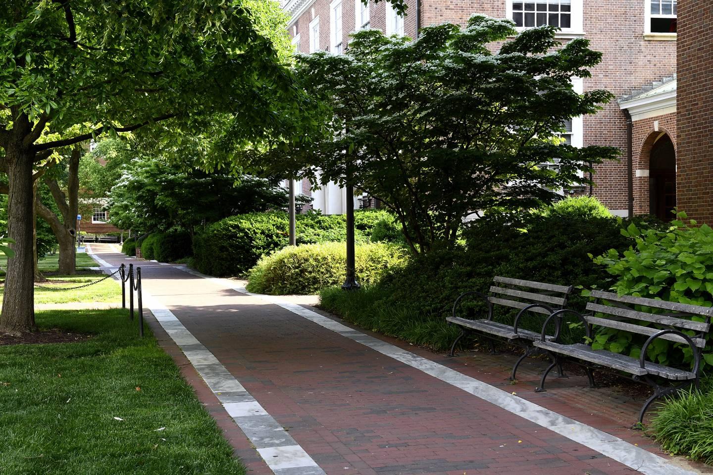 Empty campus pathways