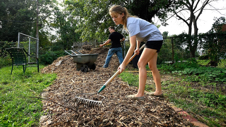 A man and woman rake and shovel mulch