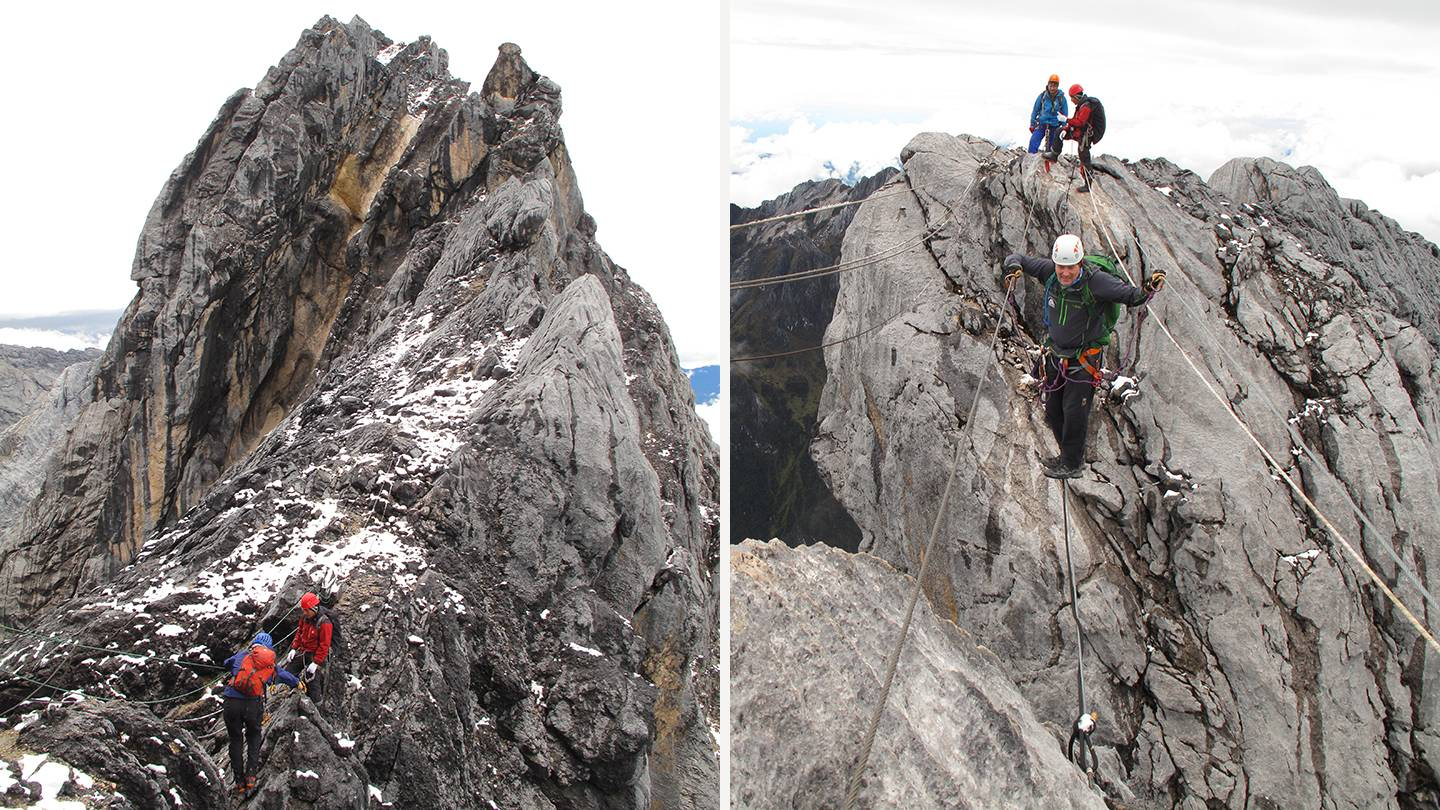 Composite image of people climbing a rocky mountain