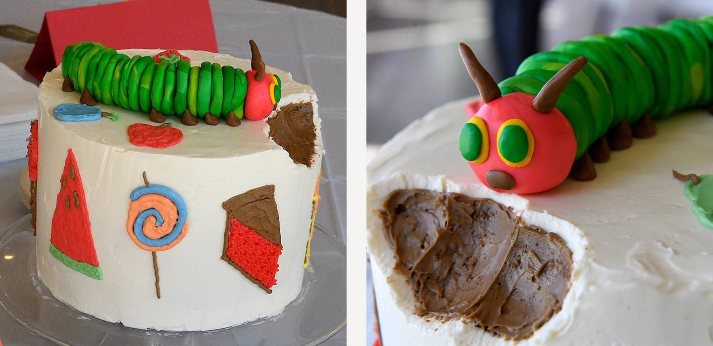 Creation of The Very Hungry Caterpillar cake