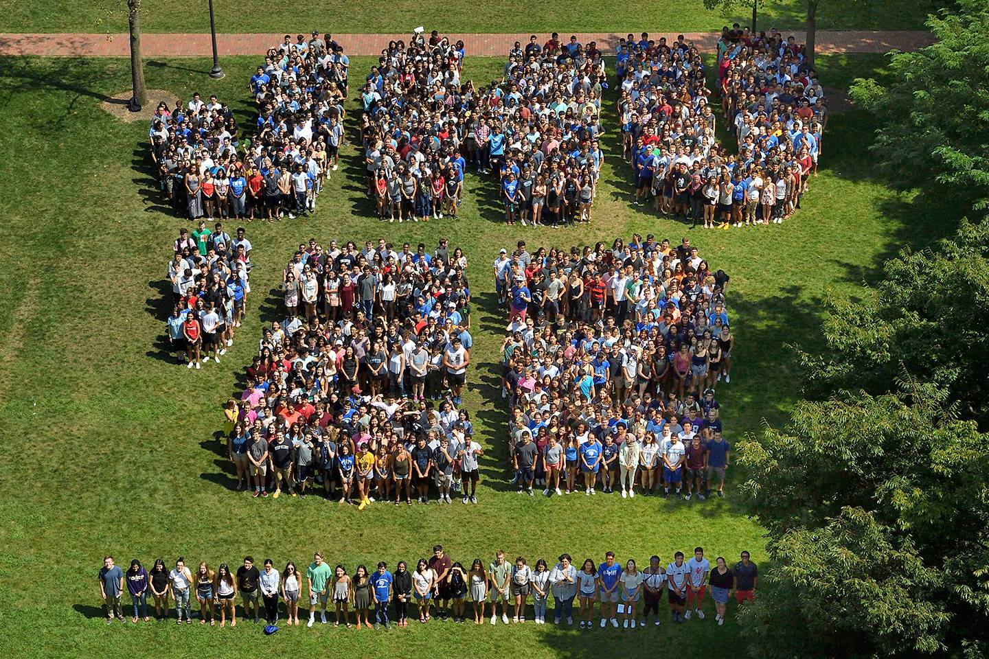 Students posed on the quad to form the phrase 'JHU '22'