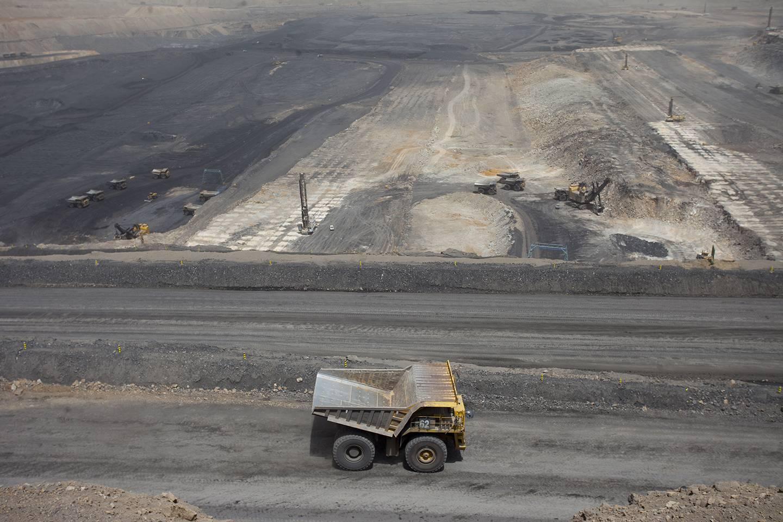 Dump truck driving at coal mine