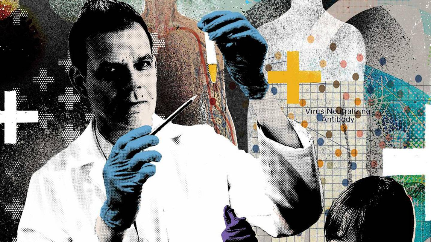 Collage of Arturo Casadevall holding a test tube