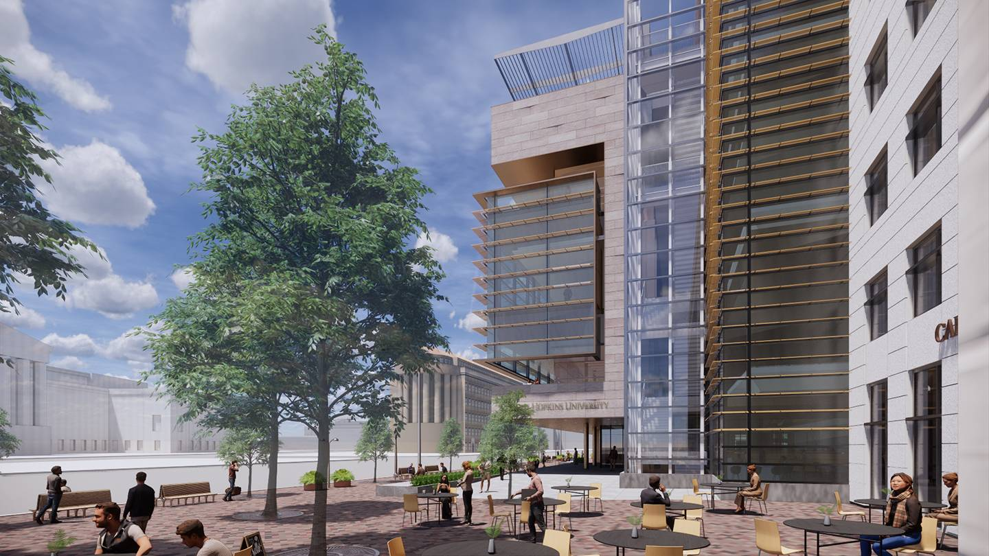 Artist's rendering shows people enjoying the outdoor space at 555 Pennsylvania Ave.