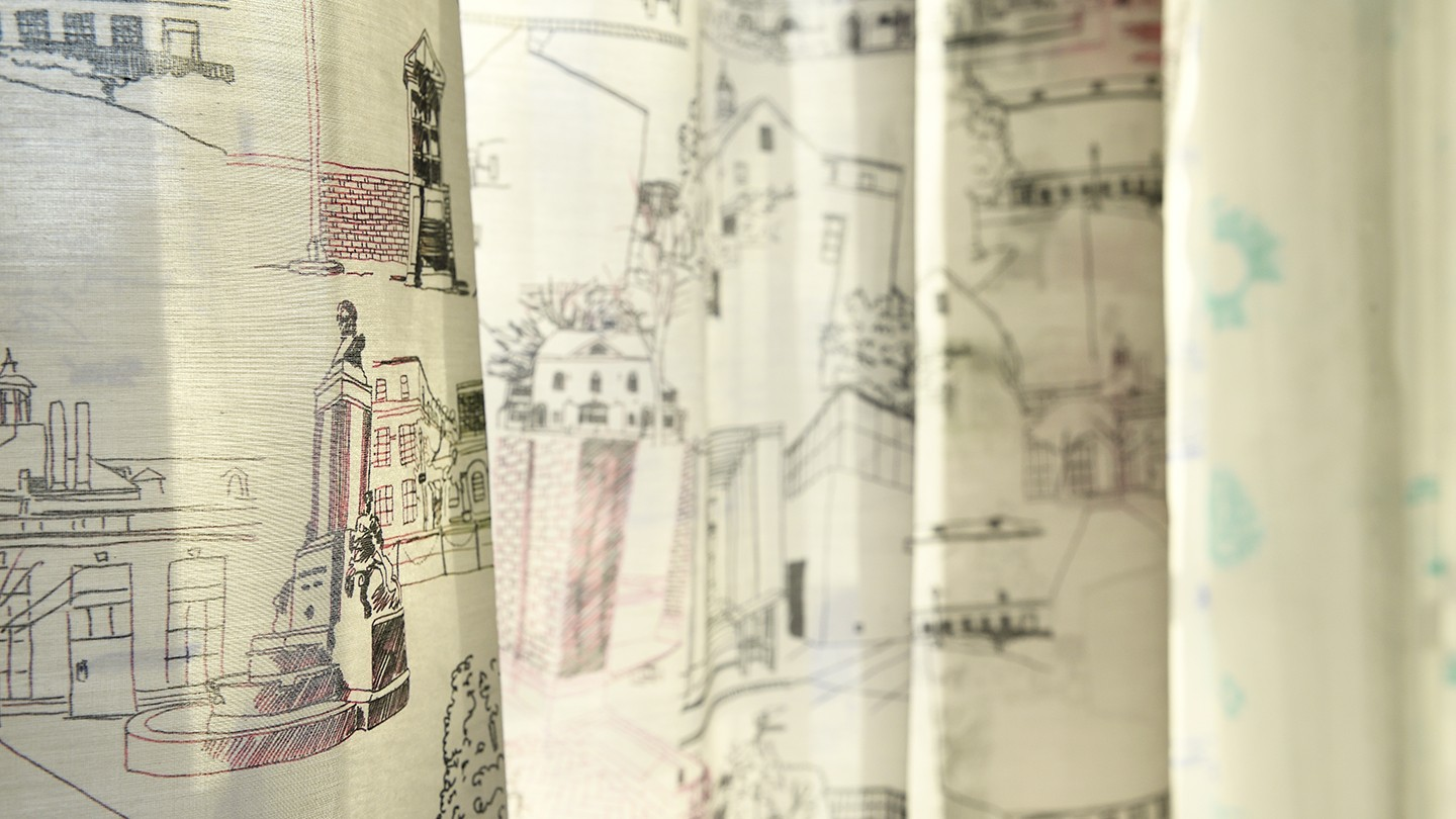 Close-up image of hand-drawn curtains