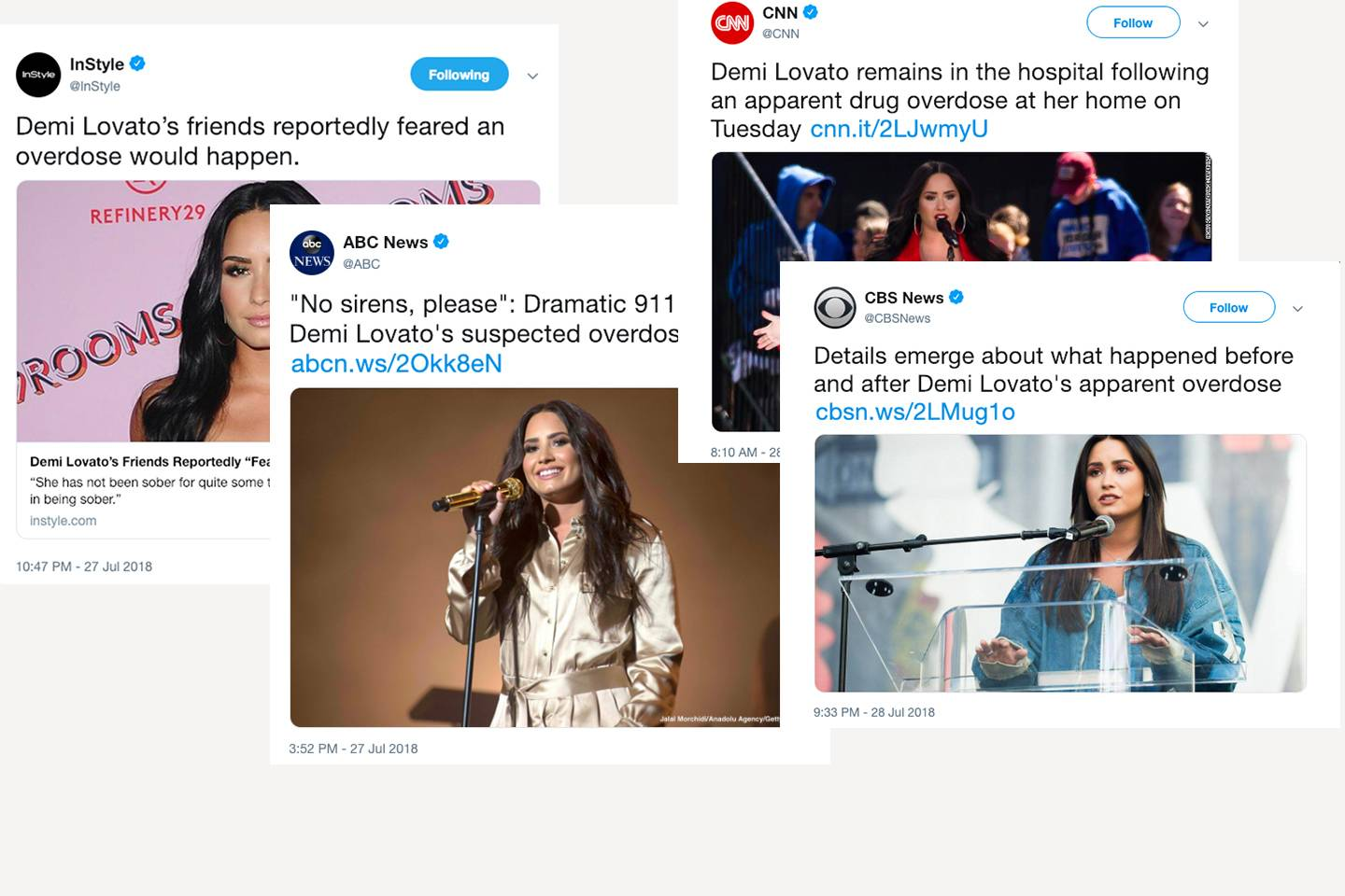 Multiple news tweets referencing Demi Lovato overdose