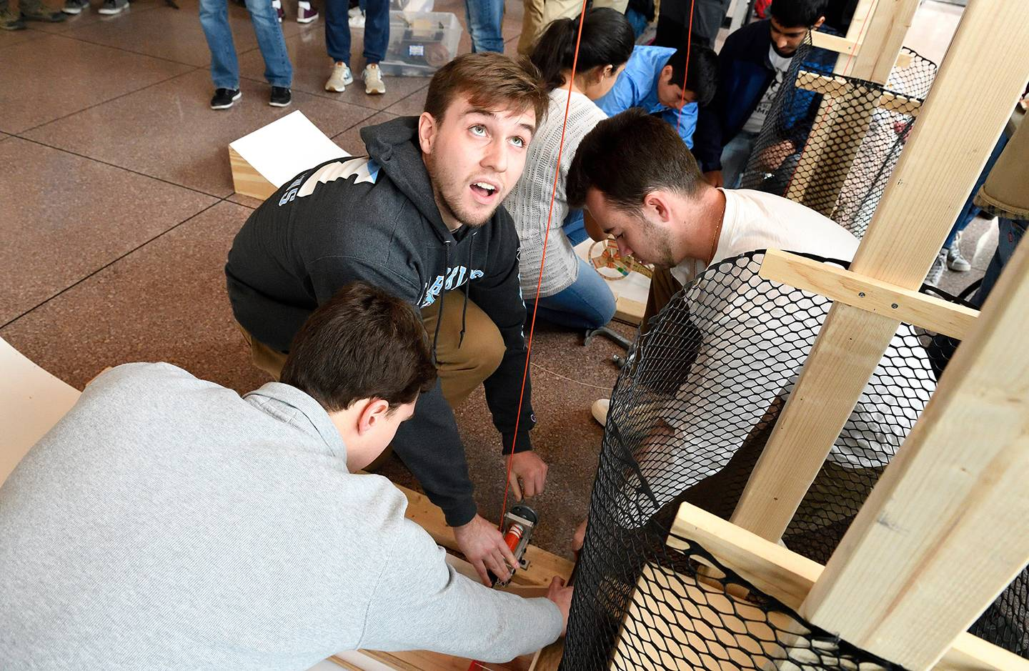 Students set up their vehicle for competition