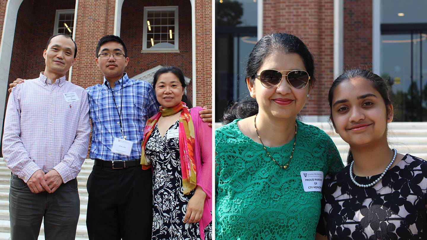 Composite photo of Erik Ma's family and Himani Chonkar and her mother
