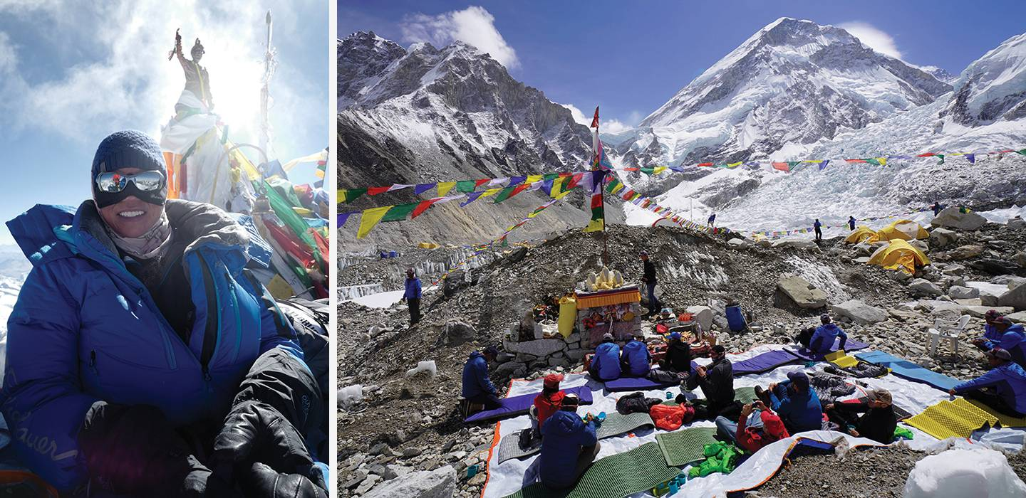 Composite image of Keaton and the camp on Everest