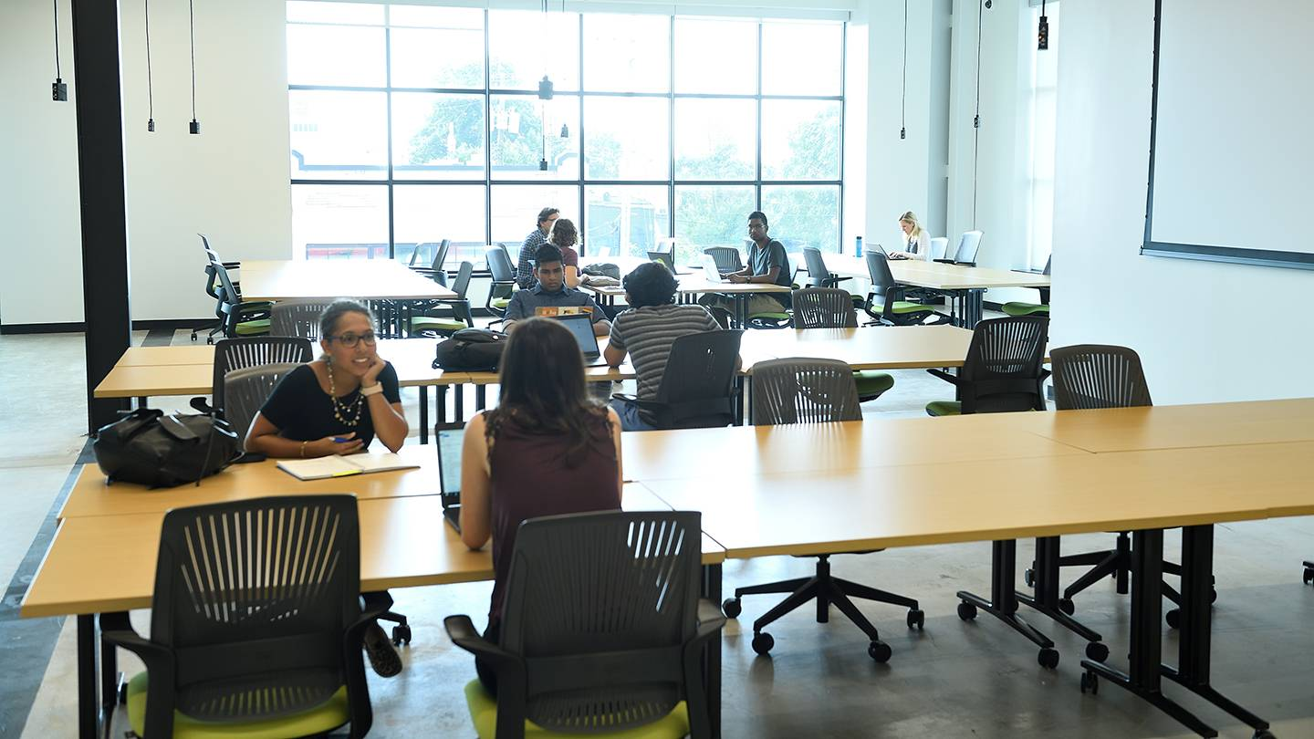 Students working in open space