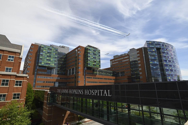 Blue Angels fly over the Johns Hopkins Hospital