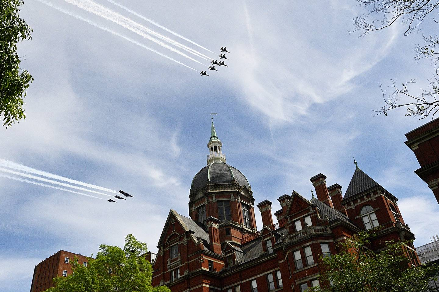Blue Angels fly over the Dome at the Johns Hopkins Hospital