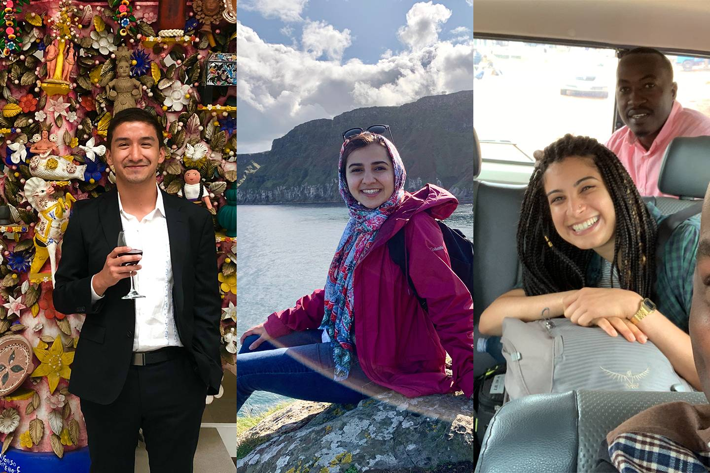 Composite image of students in three foreign countries