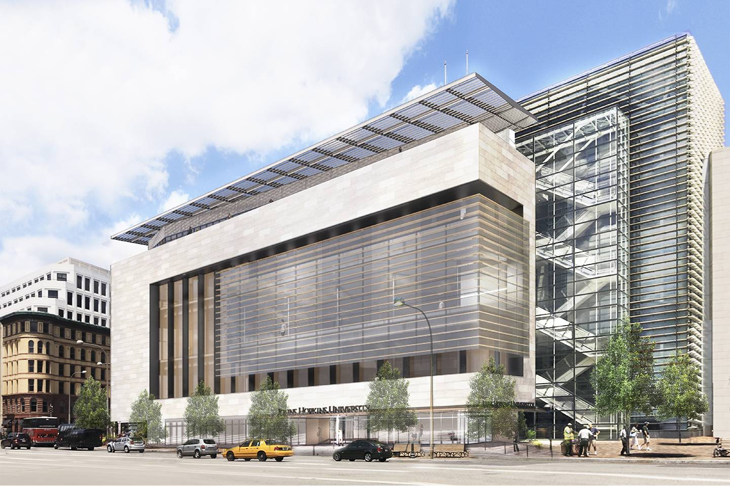 A conceptual image of the front of the Hopkins D.C. center at 555 Pennsylvania Ave.