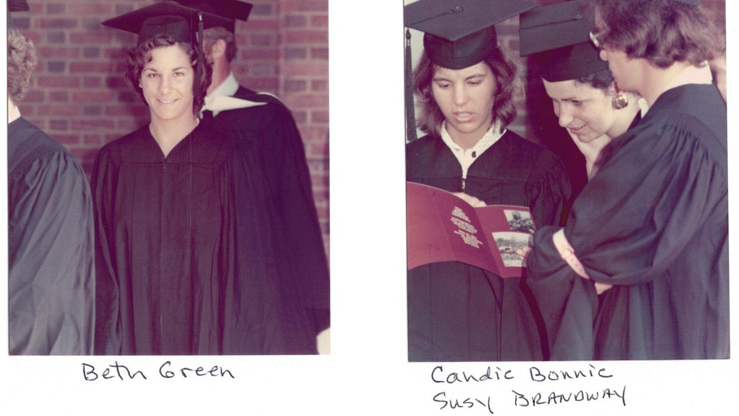 Two photos of women in commencement regalia
