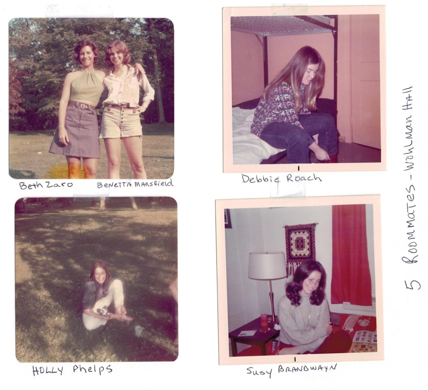 Four photos show five friends from the '70s
